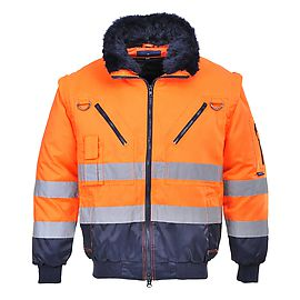 Hi-Vis 3 in 1 Pilot Jacket - Orange/Navy - PJ50