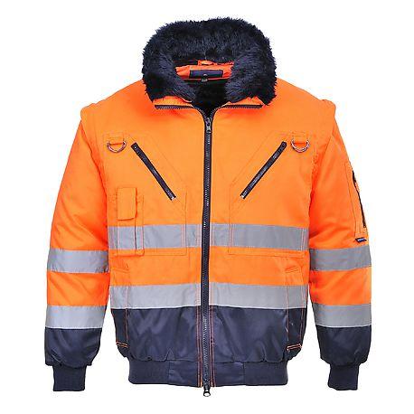 L Sioen Skollfield 4 In 1 Jacket Hi-Vis Orange//Navy