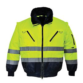 High Visibility 3 in 1 Pilot Jacket - Yellow/Navy- PJ50