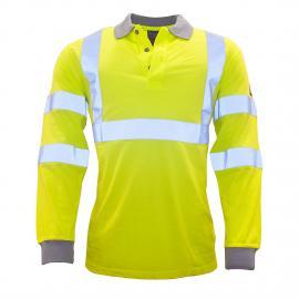 Flame Resistant AntiStatic Hi-Vis Long Sleeve Polo Shirt - FR77
