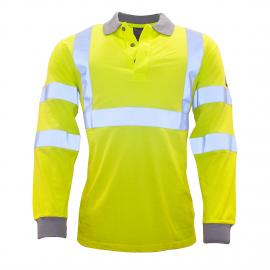 FR77 - Flame Resistant AntiStatic Hi-Vis Long Sleeve Polo Shirt