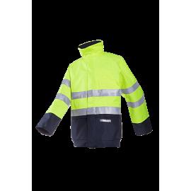 Flame retardant, anti-static hi-vis rain bomber jacket 9485N2EF5 jaune/marine
