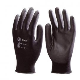 Black Polyester glove, palm PU