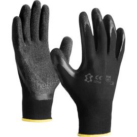 Black nylon gloves with blacklatex coated palm and fingers - 5071LB