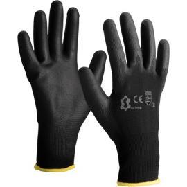 Black nylon gloves with black PU coated - 5071PB